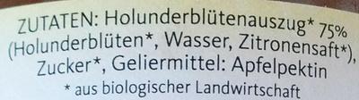 Brotaufstrich Holunderblüten - Ingrédients - de