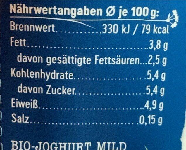 Weidemilch Joghurt Mild - Nährwertangaben - de