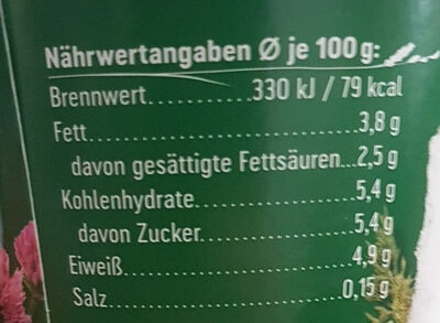 Joghurt mild aus Heumilch - Nährwertangaben - de