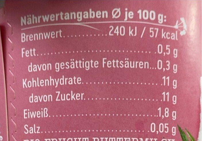 Buttermilchdrink Himbeere - Nährwertangaben - de