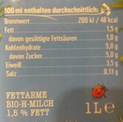 Fettarme Milch 1,5% - Nährwertangaben - de