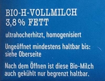 H-Vollmilch - Inhaltsstoffe