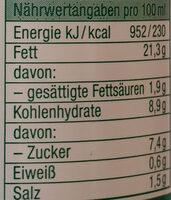 French Salatsauce - Informations nutritionnelles - de