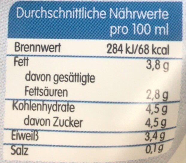 tagesfrische Vollmilch - Nutrition facts - en