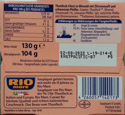 Thunfisch in Olivenöl mit Zitrone & Pfeffer - Ingrédients - de
