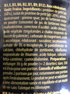 Whey Proteine Inkospor 2 KG - Fraise - Ingrédients - fr