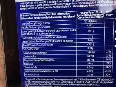 Active Liqids zéro - Informazioni nutrizionali - fr