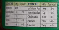Kimchi - Nutrition facts - de