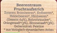 Beerentraum Fruchtaufstrich - Ingrediënten - de