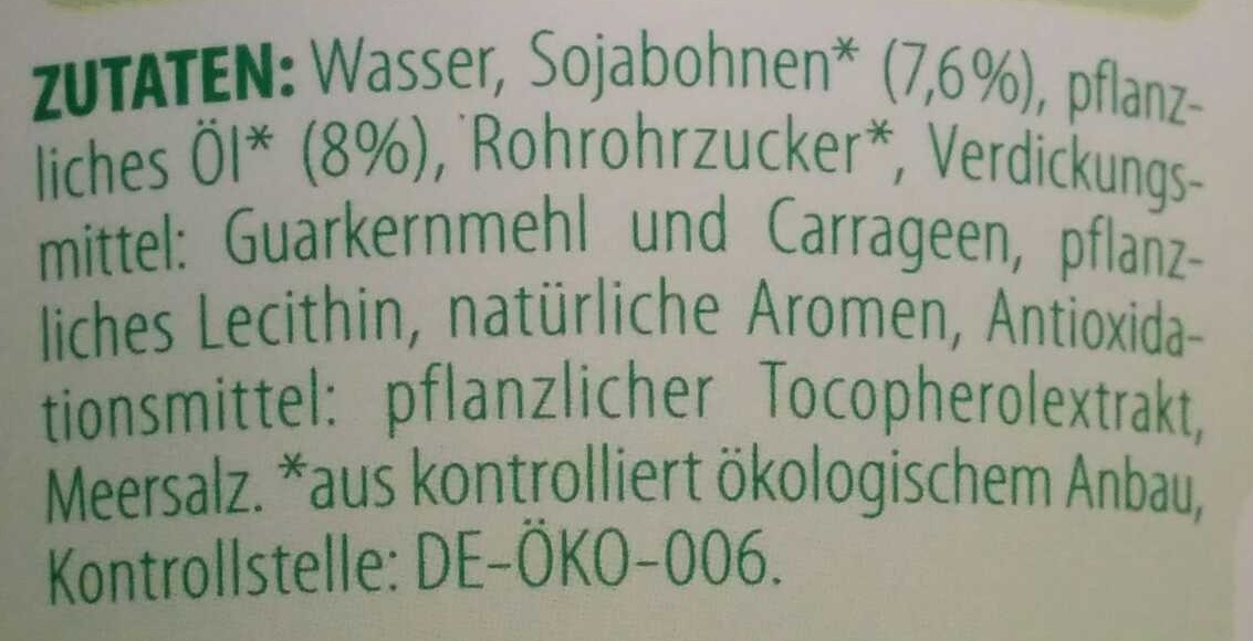 Bio Soja Kochcreme - Ingredients - de