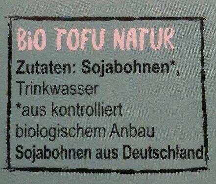Bio Tofu Nature - Ingrediënten - de