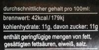 fritz-kola - Nährwertangaben
