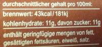 kola-kaffee-limonade - Nährwertangaben
