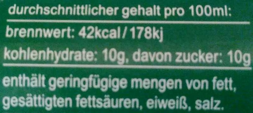 fritz-limo Melonenlimonade - Nährwertangaben