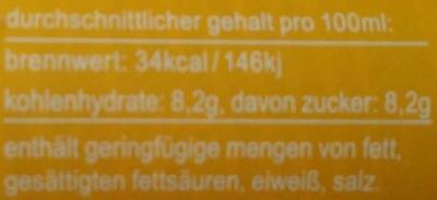 Fritz-limo Zitrone - Nährwertangaben