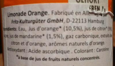 Orangenlimonade - Inhaltsstoffe