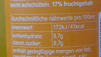 Orangenlimonade - Nährwertangaben