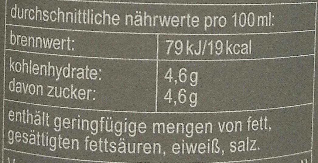 fritz-kola weniger Zucker - Voedigswaarden