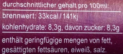 fritz-spritz Traubensaftschorle - Nutrition facts - de