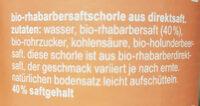 fritz-spritz Bio-Rhabarbersaftschorle - Ingredients - de
