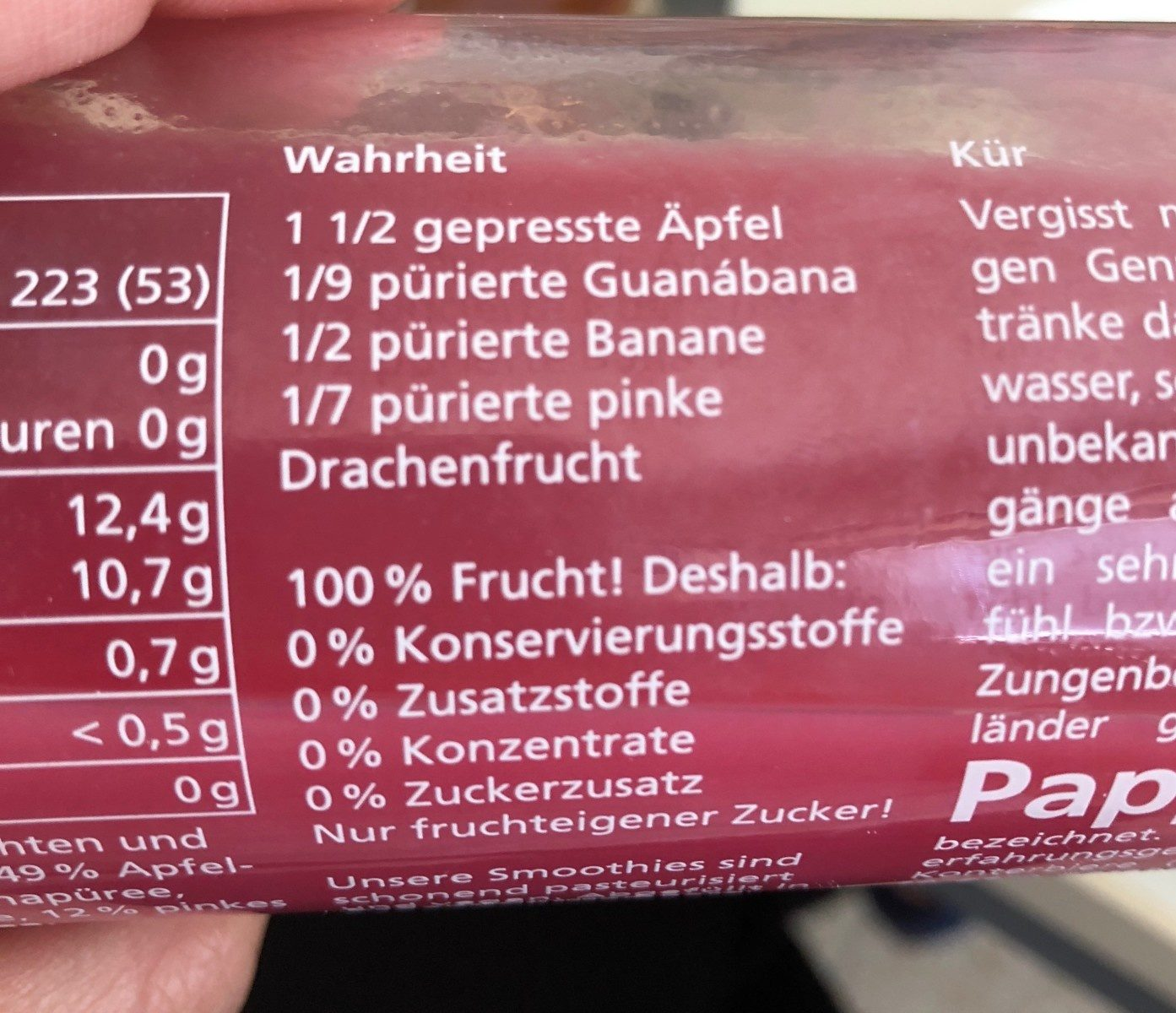 True Fruits, Pink Smoothie - Ingredients - fr