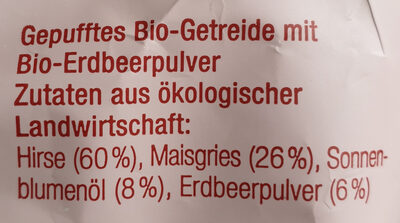 Bio-Knusper-Stangen Hirse-Erdbeere-Mais - Ingrediënten - de