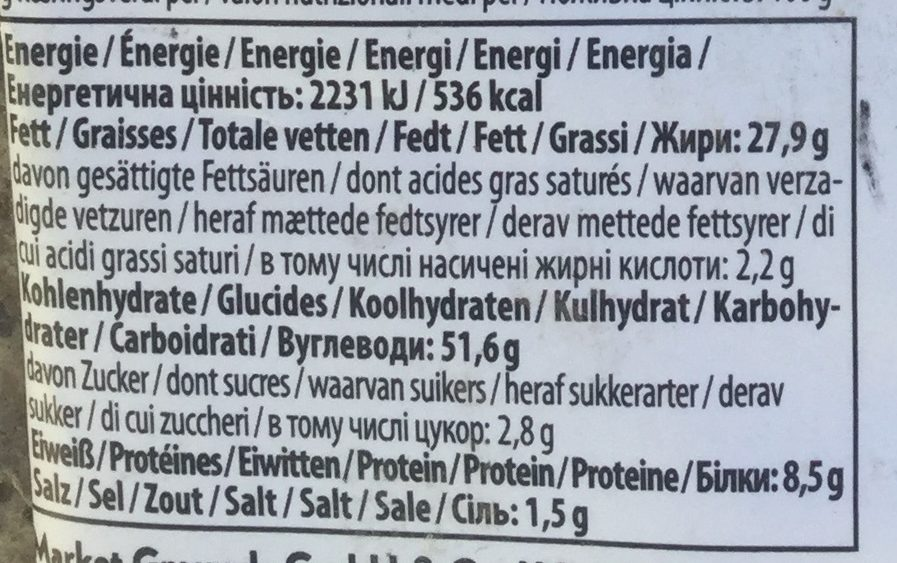 No 4 - Suffolk cheddar  chives - Informations nutritionnelles - en