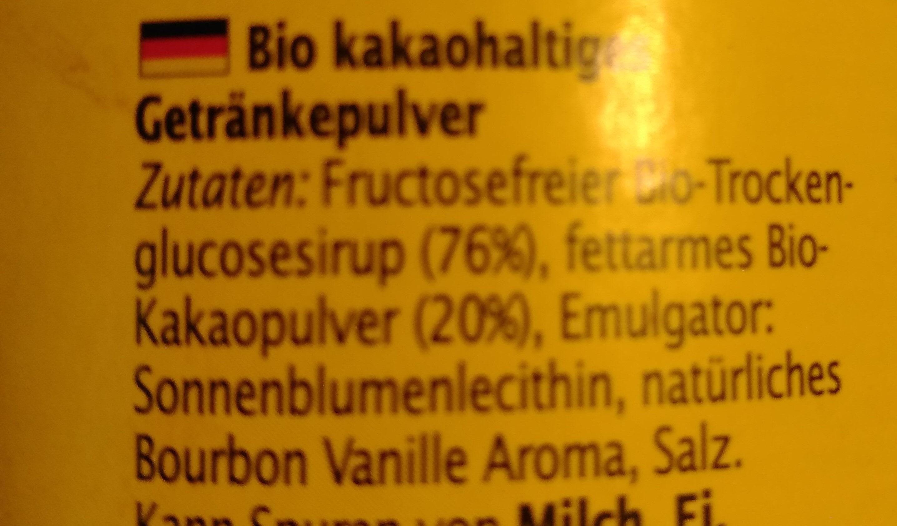 Bio kakaohaltiges Getränkepulver - Ingredients