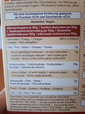 Jarabe de glucosa deshidratado - Informations nutritionnelles
