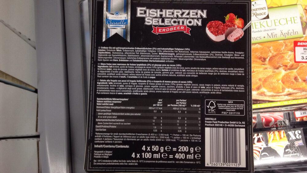 Glace fraise (Cristallo) - Ingredients - fr