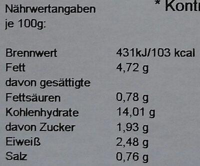 Kichererbsen-Gemüseragout mit Raz-el-Hanout - Nutrition facts - de