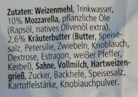 Pizza-Brötchen Mozzarella-Kräuterbutter - Inhaltsstoffe - de