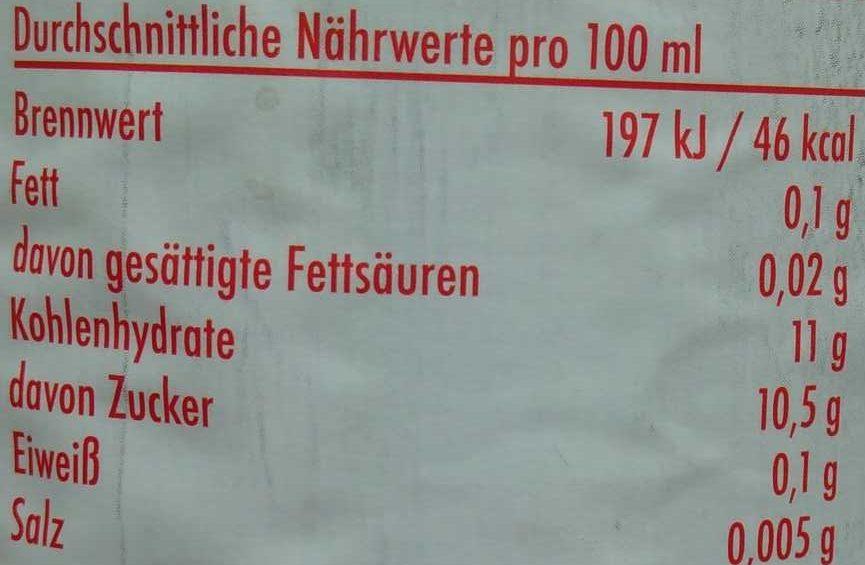 Roter Boskoop - Informations nutritionnelles - de