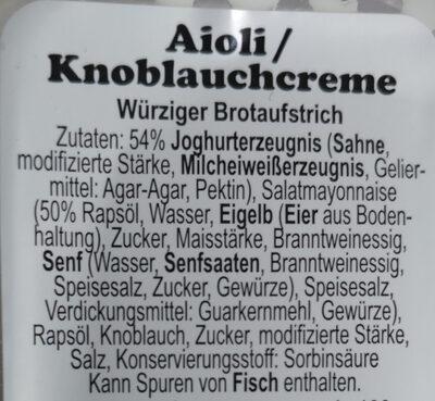Aioli knoblauch creme - Ingrédients