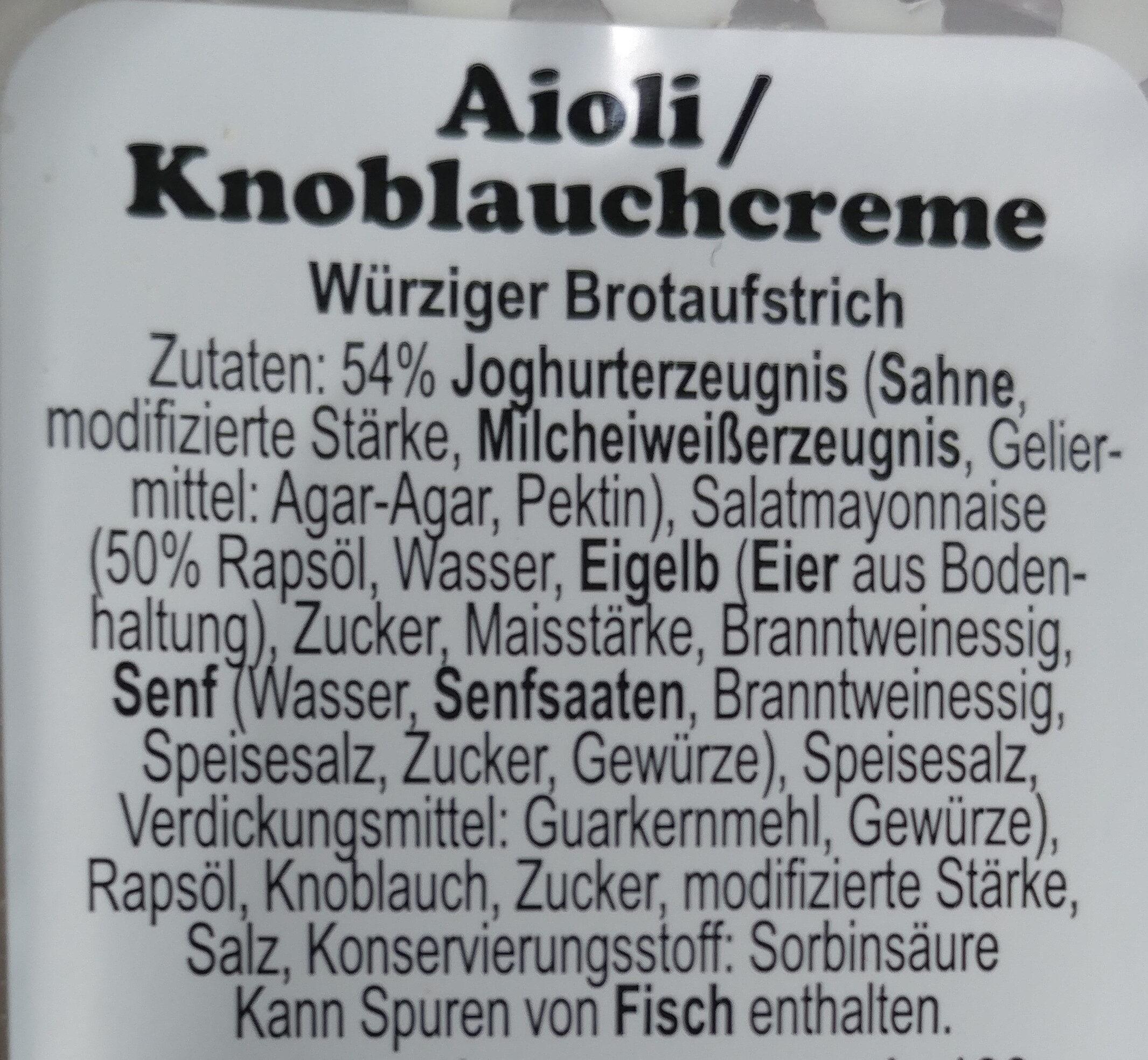 Aioli knoblauch creme - Ingrédients - de