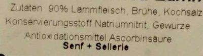 Deutsches Corned Lamm - Inhaltsstoffe