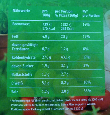 Bio Pizza Bruschetta - Nutrition facts