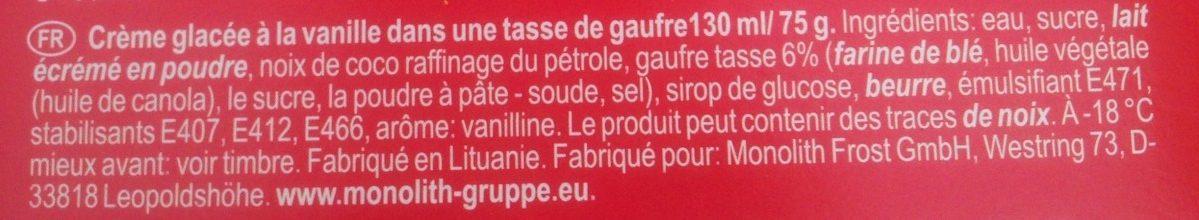 Crème Glacé Vanille en Coupe de Gaufre - Ingredients
