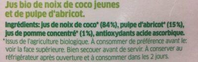 Coco juice pure organic coconut apricots - Ingrédients