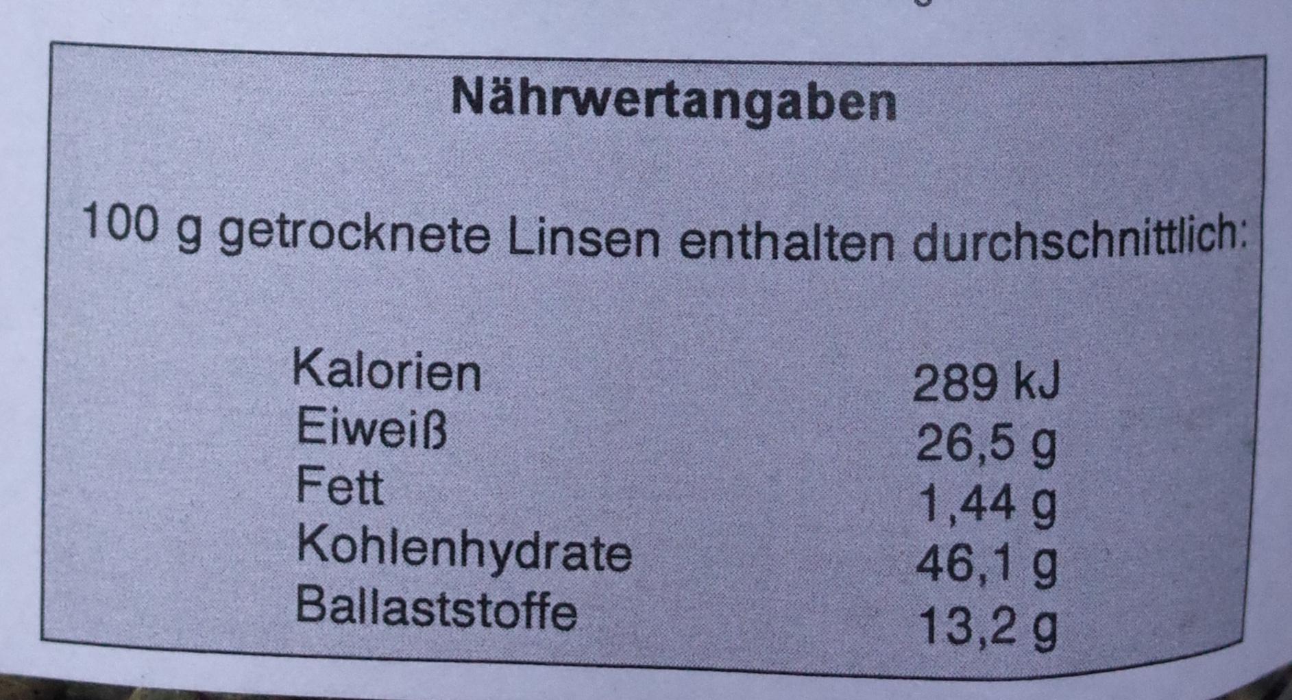 Linsen - Nährwertangaben - de