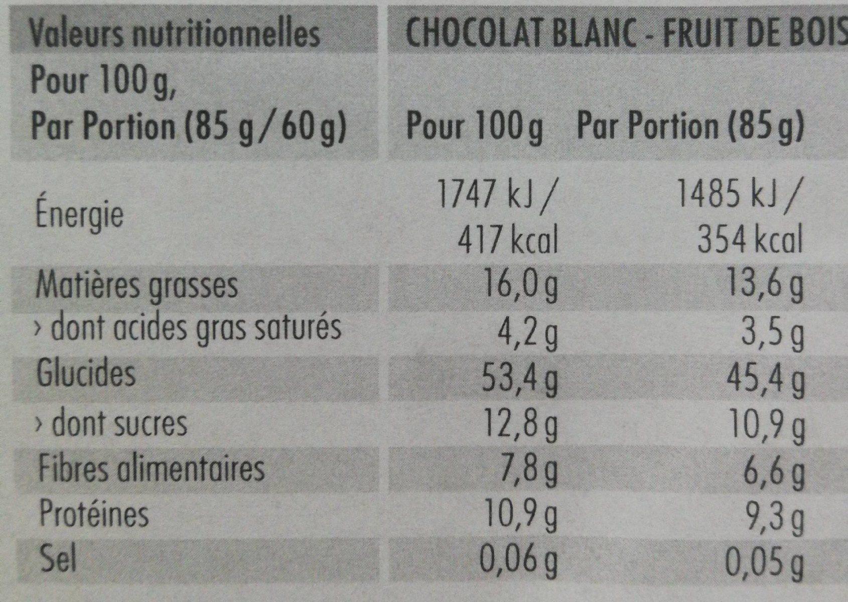 Berrywhitechoc - Voedingswaarden - fr