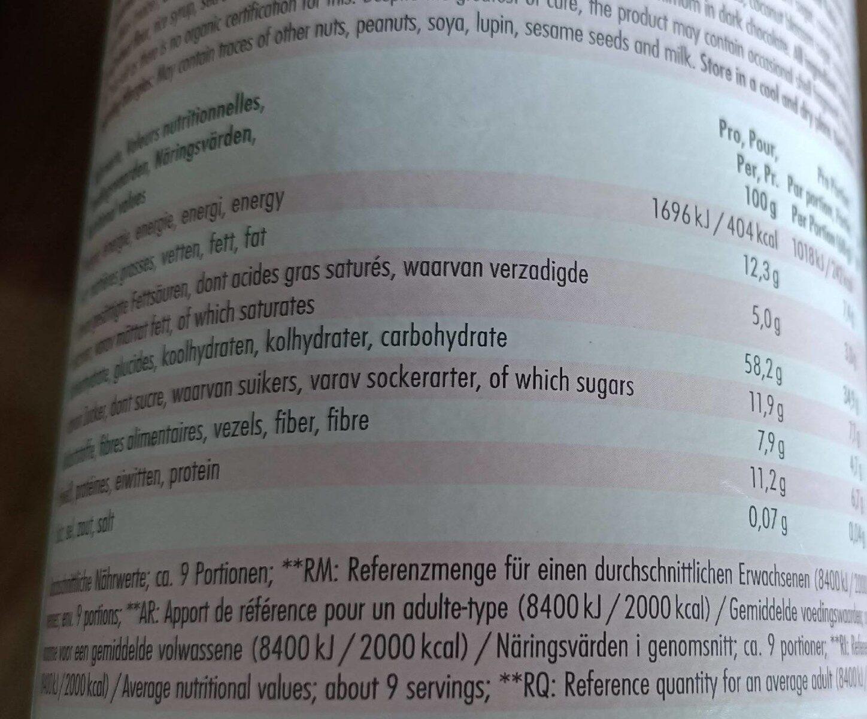 Oster Muesli - Nutrition facts - de