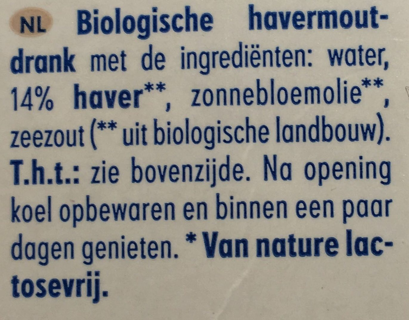 Hafer nilk - Ingrediënten - nl
