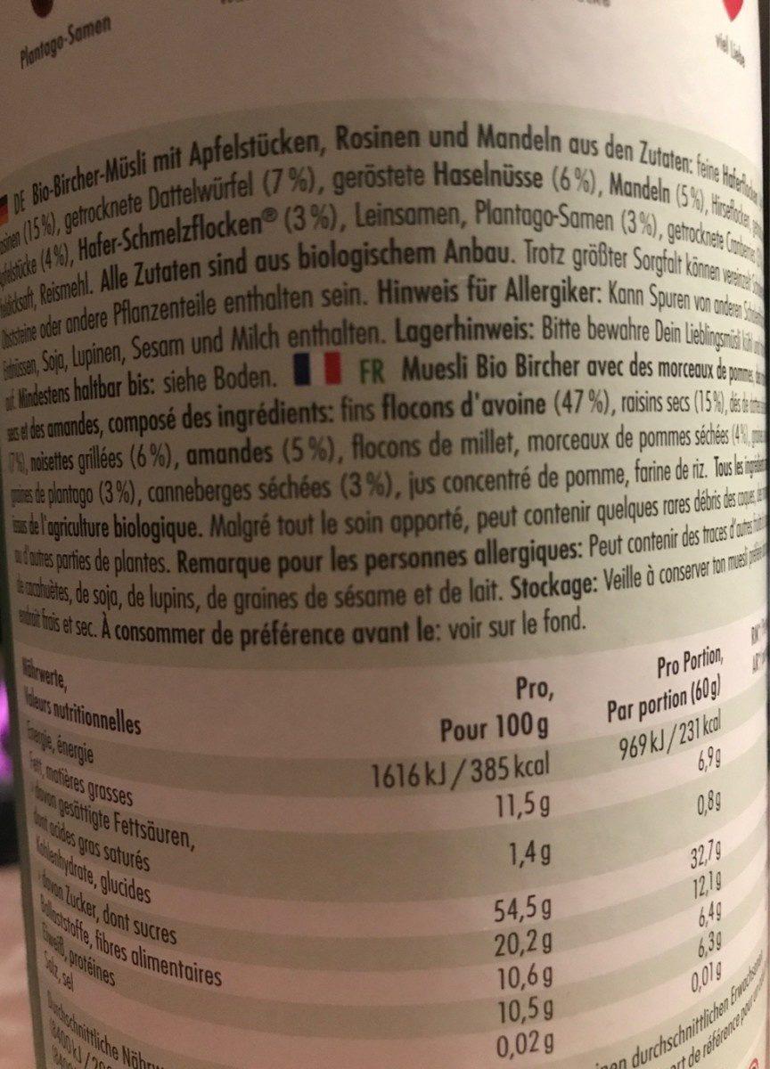 Bircher - Ingredients - fr