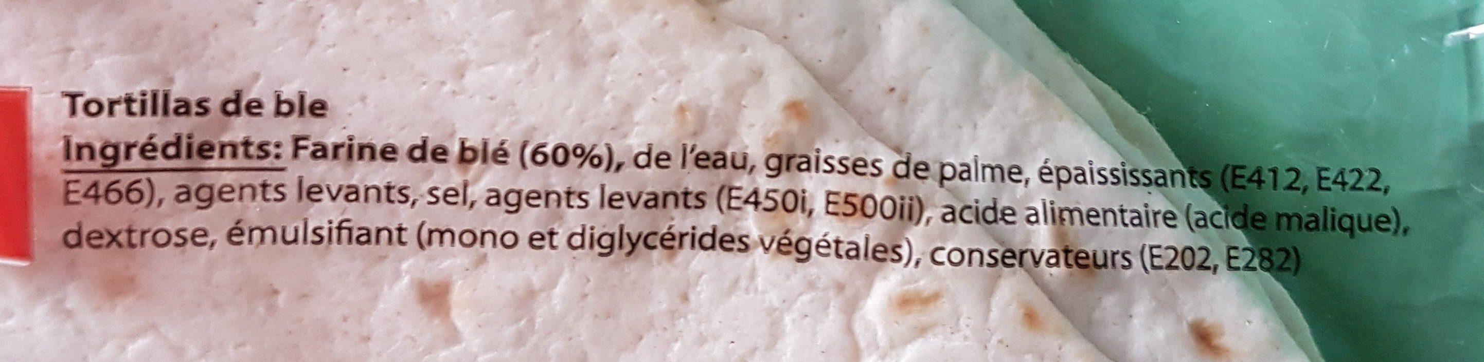 Tortillas de blé - Ingrediënten - fr