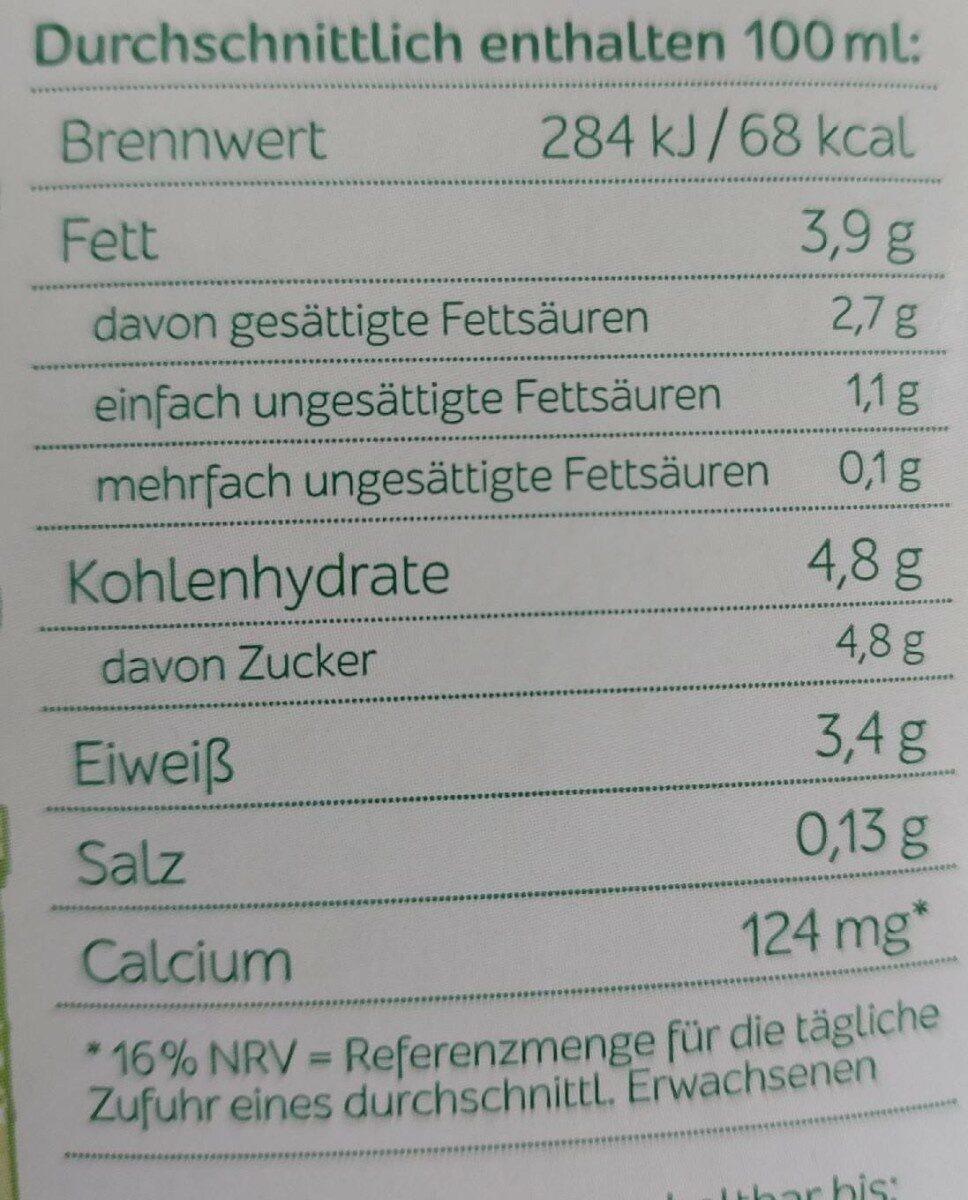 Sternen fair H-Vollmilch 3,8% Fett - Nährwertangaben - de