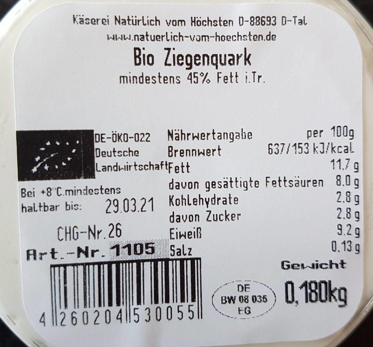 Bio Ziegenquark - Nährwertangaben - de