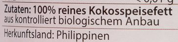 Bio-Kokosspeisefett - Zutaten - de