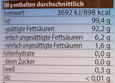 Bio-Kokosspeisefett - Voedingswaarden - de