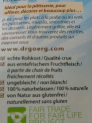 Noix De Coco Rapée Bio - 300G - Dr Goerg - Ingrédients